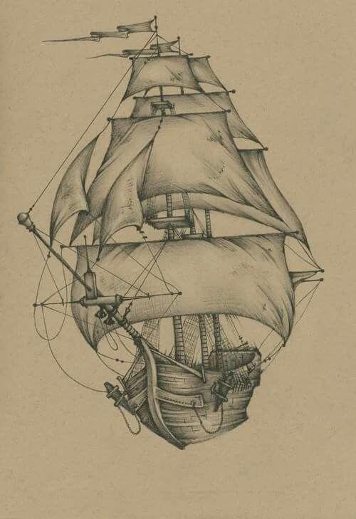 Boatstattoo Ship Tattoo Pirate Ship Drawing Ship Drawing