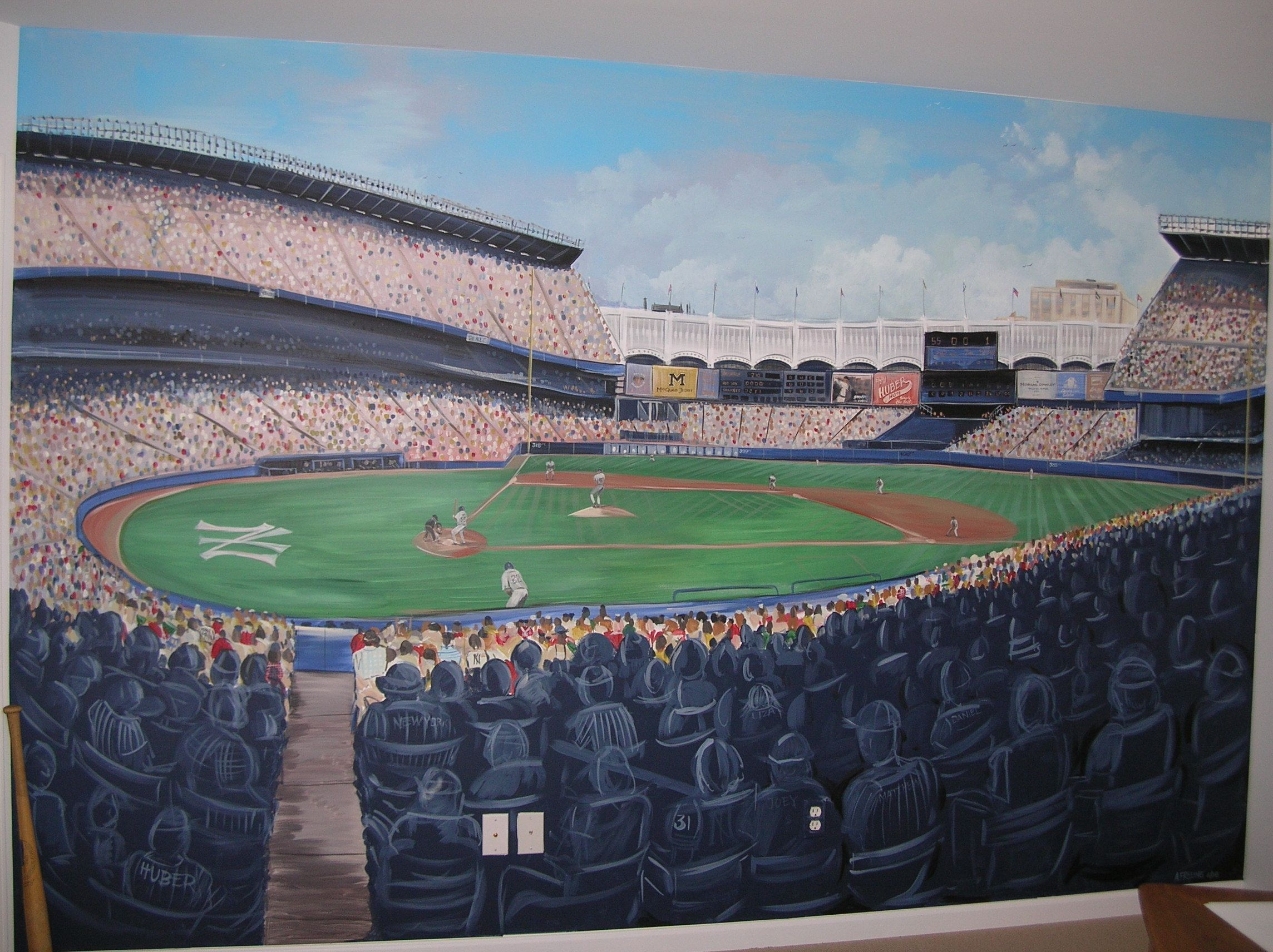 Painted yankee stadium mural complete with fans baseball for Baseball field wall mural
