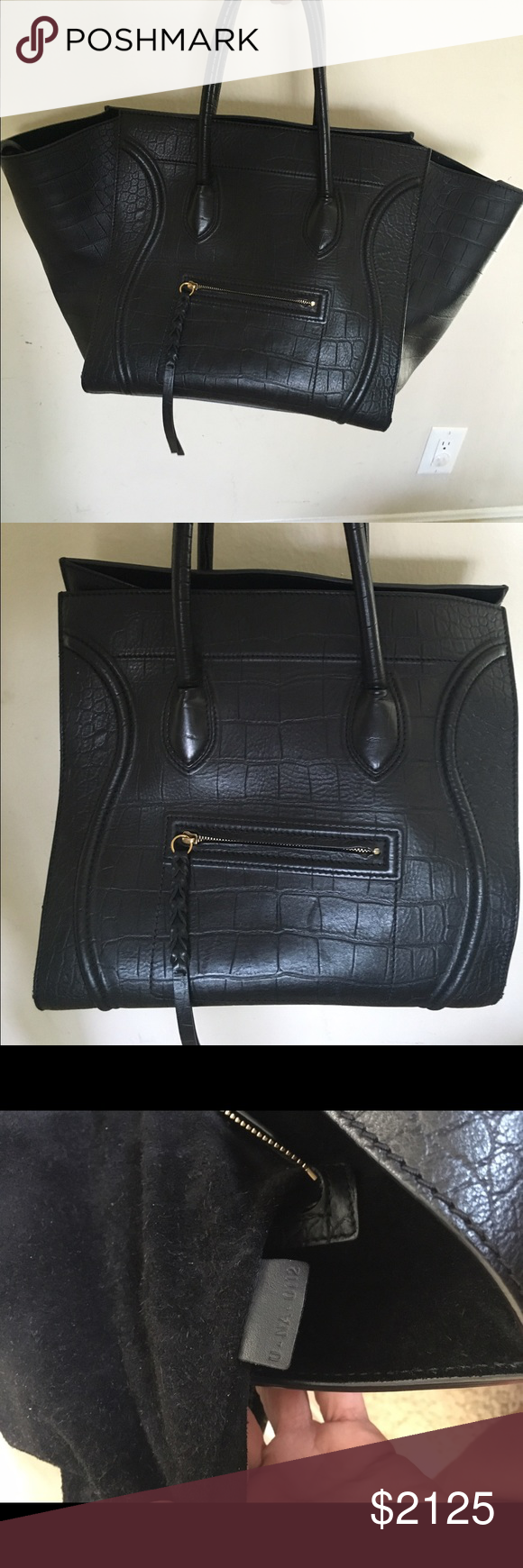 20b5c4112fe0 Celine croc stamped calfskin phantom luggage tote This is a very hard to  find Celine Phantom bag. It's in excellent condition. No scratches or marks  on the ...
