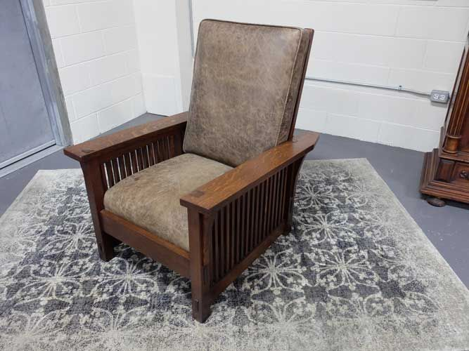 Antiques By Design - Gustav Stickley Arts + Crafts Spindle Side Reclining Morris  Chair - Antiques By Design - Gustav Stickley Arts + Crafts Spindle Side