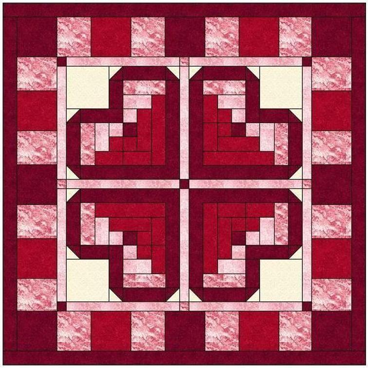 Log Cabin Heart Quilt Block Pattern | Craftsy