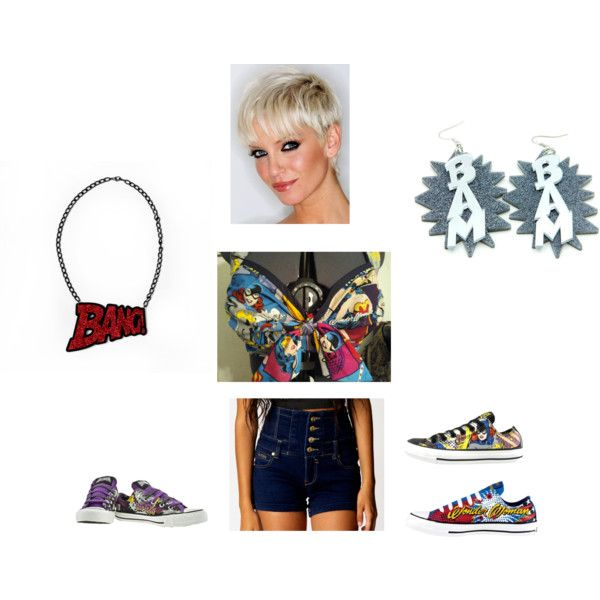"""""""Retro Comics"""" by ichollie-dominguez on Polyvore    I ordered the shirt and the shorts. I already have the earrings all I need are the shoes (help me pick which ones) and the necklace"""