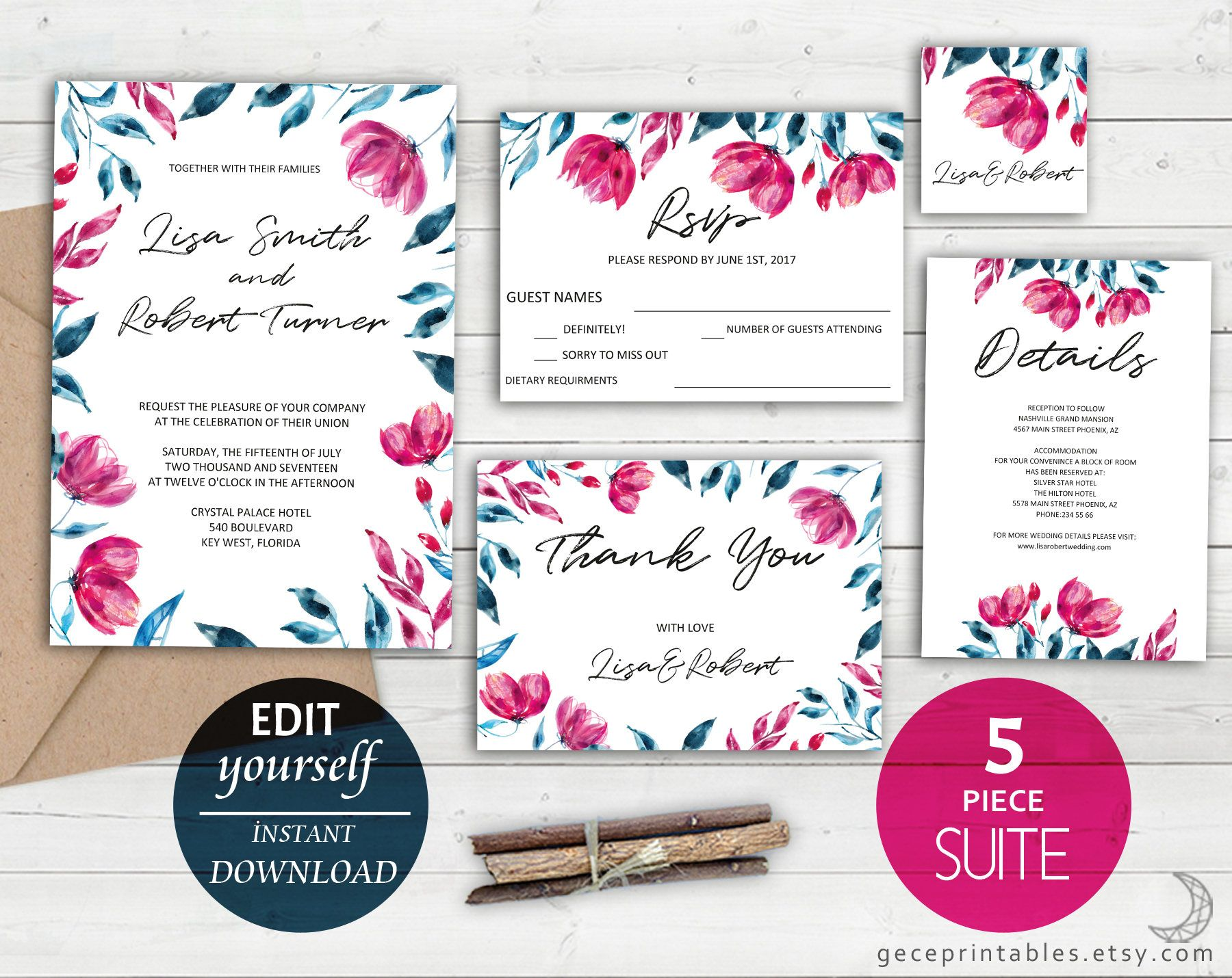Editable Wedding Template Wedding Invitation Suite Pink Navy