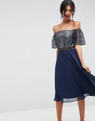 Bardot Metallic Midi Skater Dress | Pinterest | Kaufen