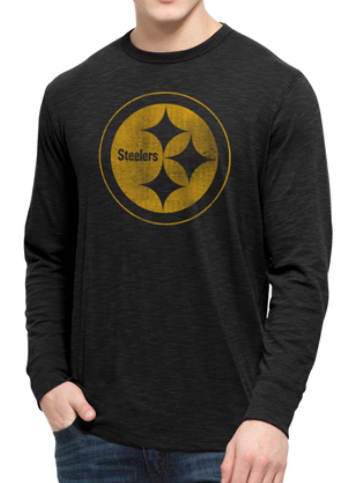 b944a5354 Pittsburgh Steelers 47 Brand Jet Black Long Sleeve Soft Scrum T-Shirt