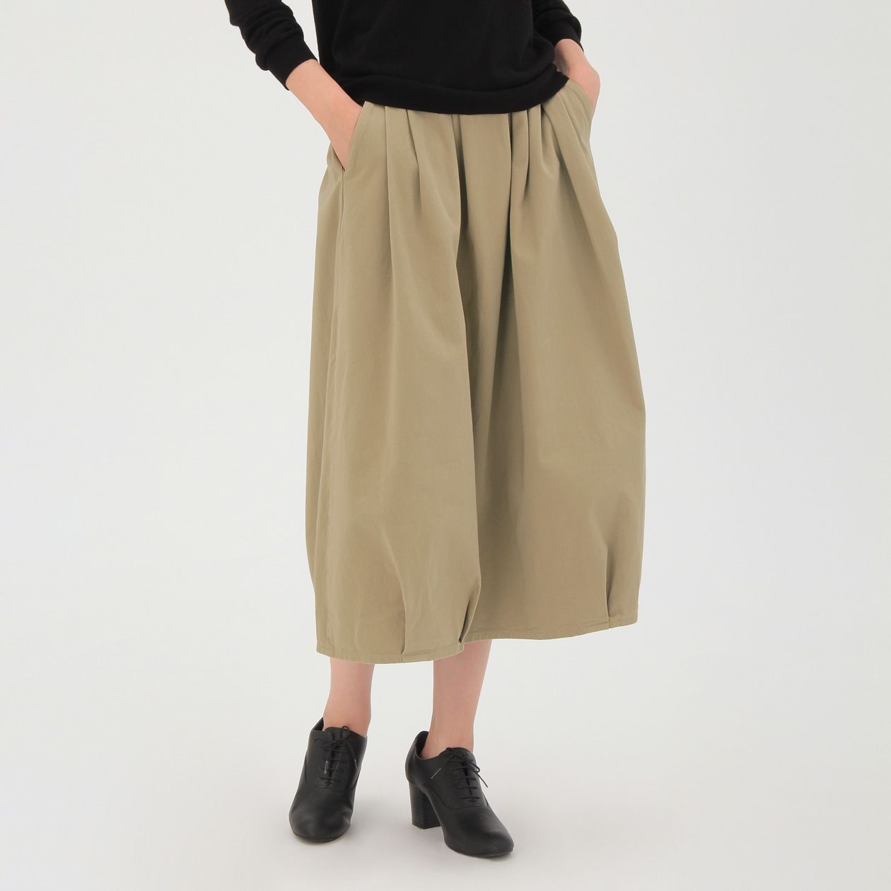 367975cd9a942e オーガニックコットン縦横ストレッチチノイージーバルーンスカート 婦人S・ベージュ | 無印良品ネット