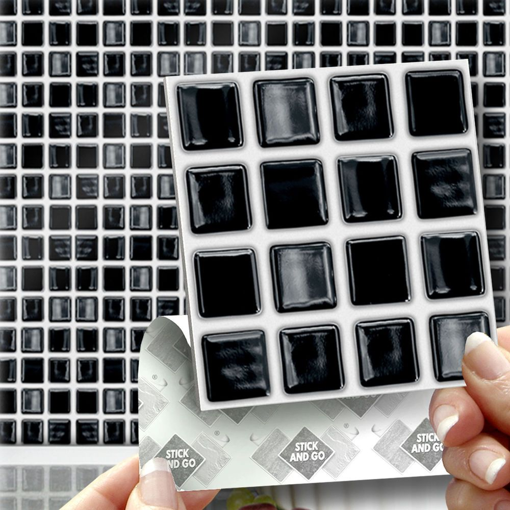 18 stick go black mosaic stick on wall tiles stickers 18 stick go black mosaic stick on wall tiles stickers kitchens bathrooms dailygadgetfo Image collections