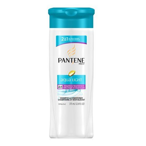 PANTENE Aqua Light Weightless Nourishment 2-in-1 Shampoo and Conditioner, 12.6 Fluid Ounce (Pack of 2) by Pantene. Save 30 Off!. $6.99. Leaves hair beautifully conditioned with no weight. Zero Weight. 100% More Nourishment.. Rinses away clean. Amazon.com                     Fresh, clean, and light for weightless care. Silicone-free and highly water soluble for instant rinsing with no buildup. Leaves hair feeling refreshed and light, for a flawless clean.                      ...