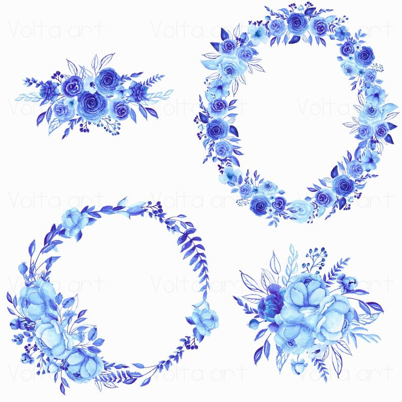Watercolor Peony Wreaths And Bouquets Clipart Hand Drawn Blue Etsy In 2021 Floral Wreath Watercolor Wreath Watercolor Floral Watercolor
