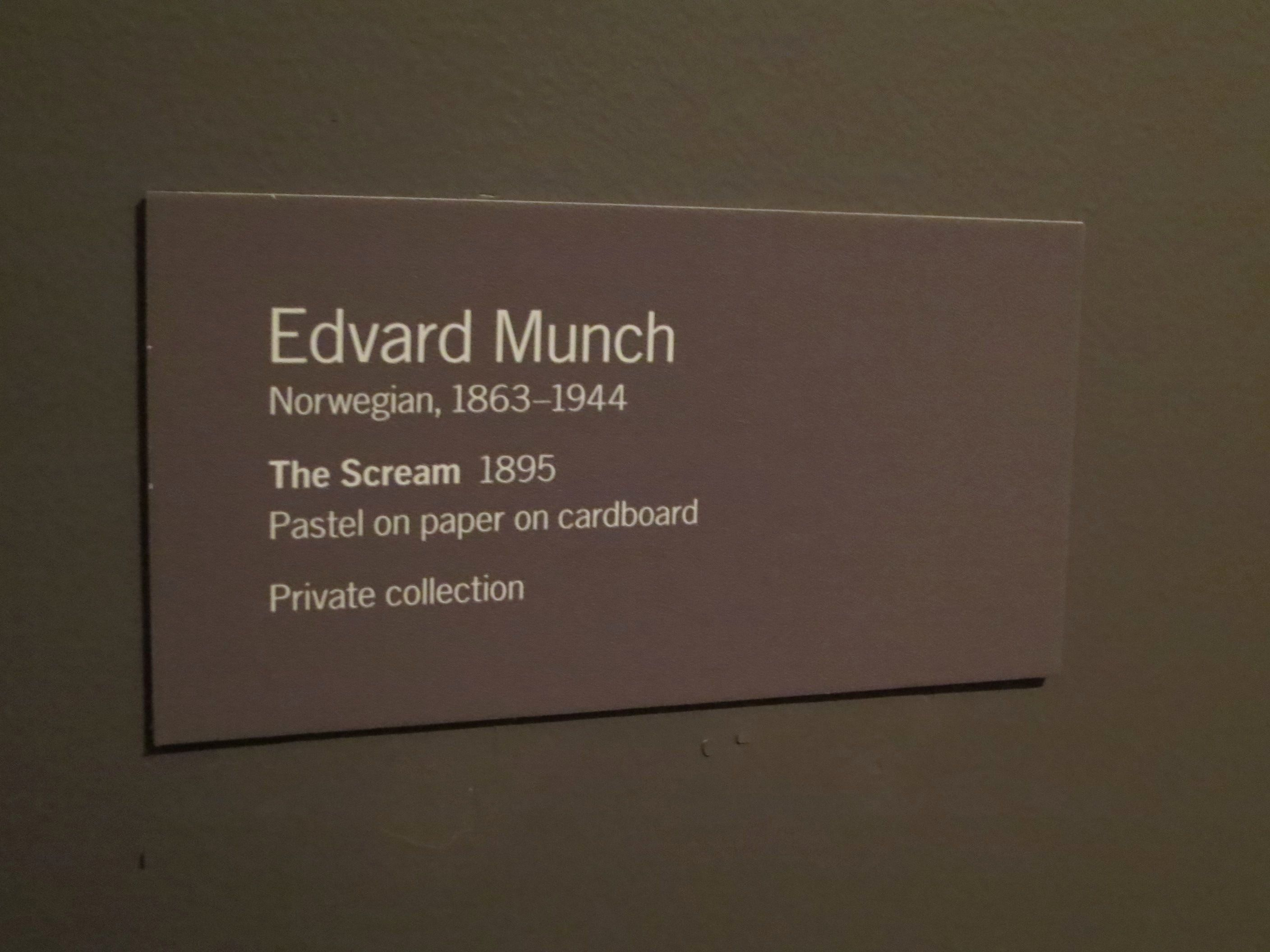 Art Gallery Labels Template Inspirational Edvard Munch The Scream 1895 Pastel On Paper On Label Templates Art Show Wall Text