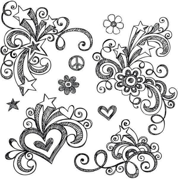 Hand Drawn Floral Decor Design Vector Set 01