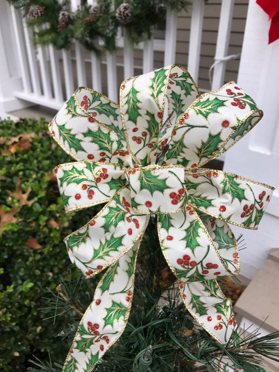Small Christmas Tree Topper Bow with Long Tails - Holly ...