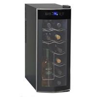 10 Wide 12 Bottle Single Zone Black Thermoelectric Wine Refrigerator Wine Fridge Wine Refrigerator