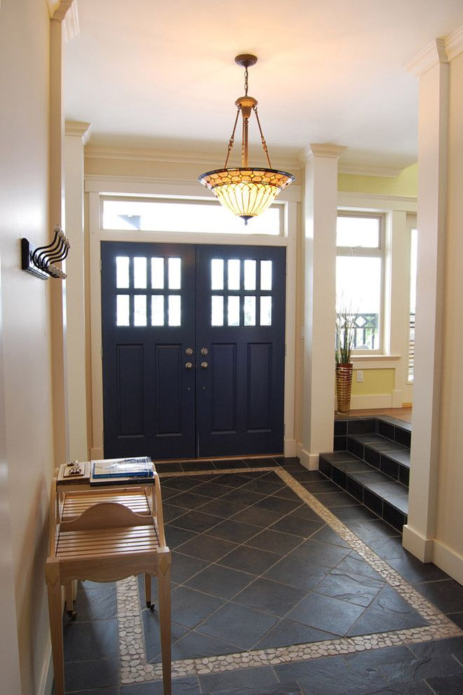 Foyer Tile Designs Entry Farmhouse With Rustic
