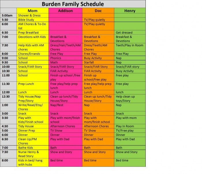 How to create a family schedule - free template - homespun ...