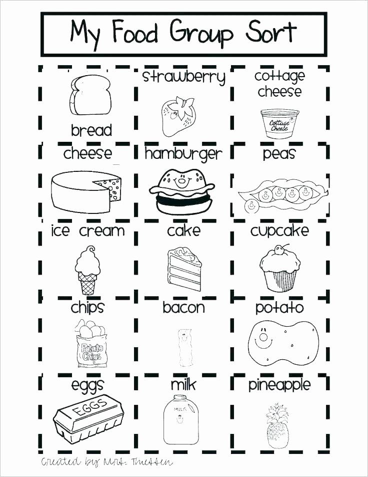 Kindergarten sorting Worksheets Cooking Worksheets for