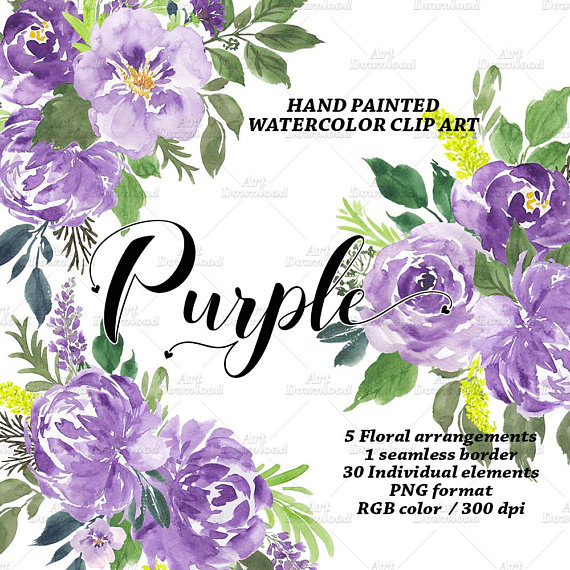 Purple Watercolor Flowers, Summer floral, Purple Peonies ...