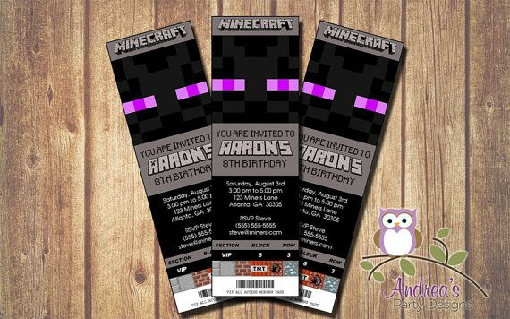 Printable Minecraft Enderman Event Ticket by AndreasPartyDesigns - printable event tickets
