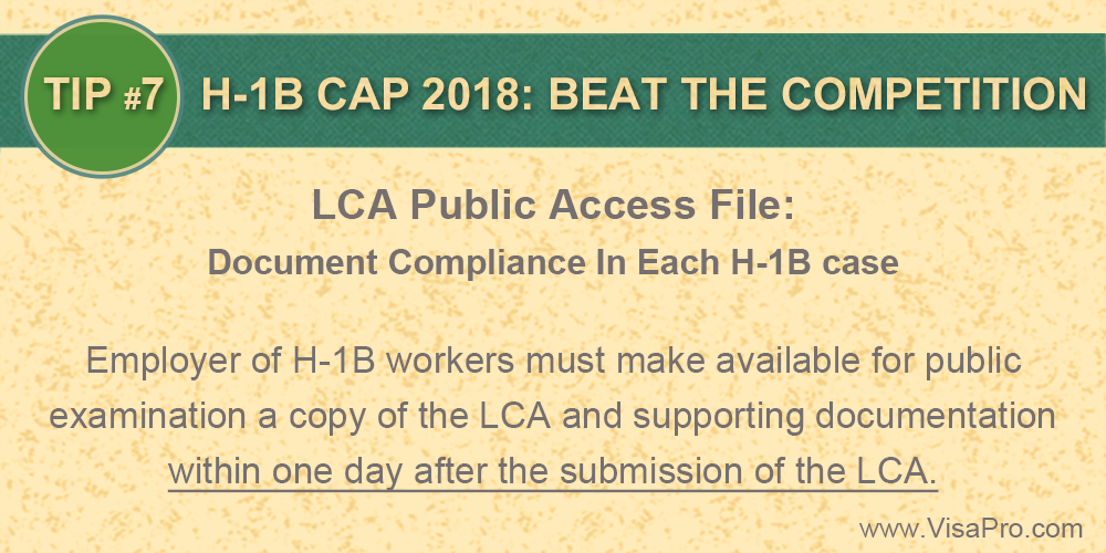 LCA Public Access File: Document Compliance In Each #H1B