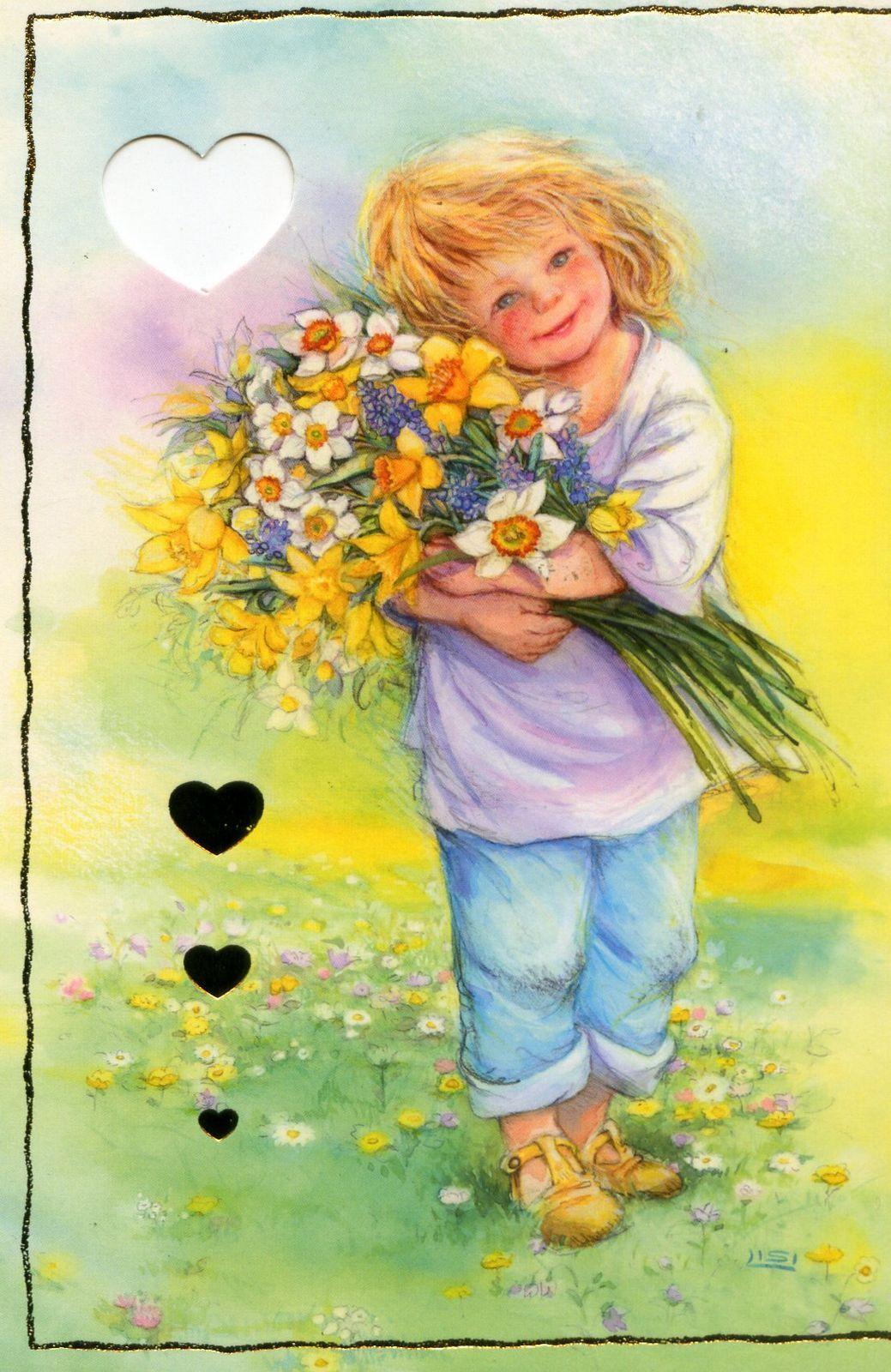 Открытки с цветами для девочки, детские открытки сделать