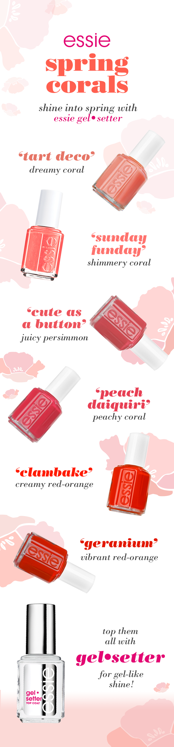 shine into spring with essie gel setter top coat and coral shades ...