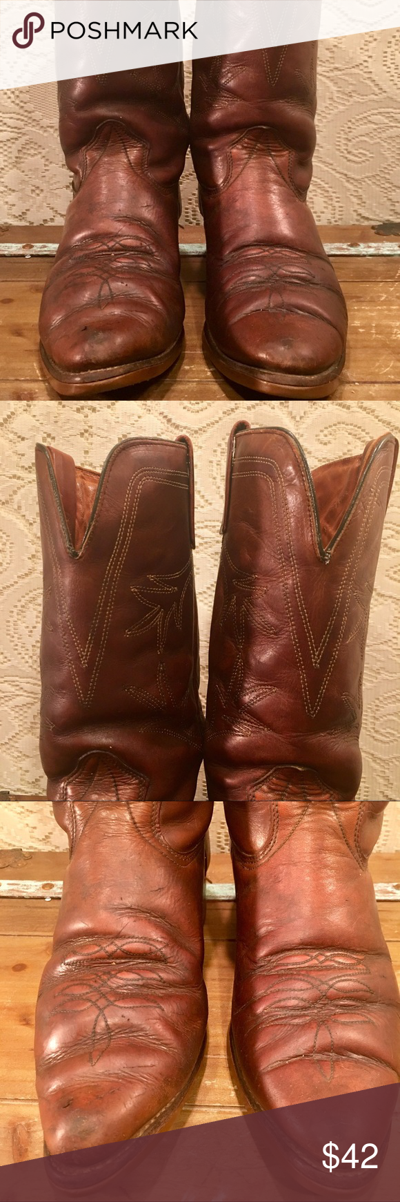 Brown Texas Brand Cowboy Work Boots Size 11 Ee Great Pair Of Broken In Texas Brand Cowboy Boots Perfect For Working On The Ranch Boots Work Boots Texas Brand