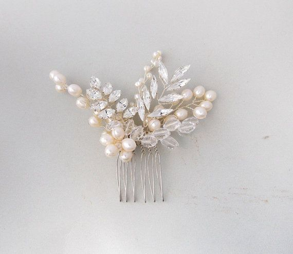 Bridal Hair Comb Pearl Hair Comb Wedding Hair by AmbrosiaBridal