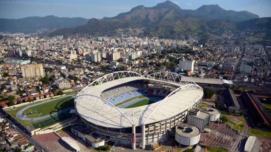 Blue running track installed at rio olympic stadium rio