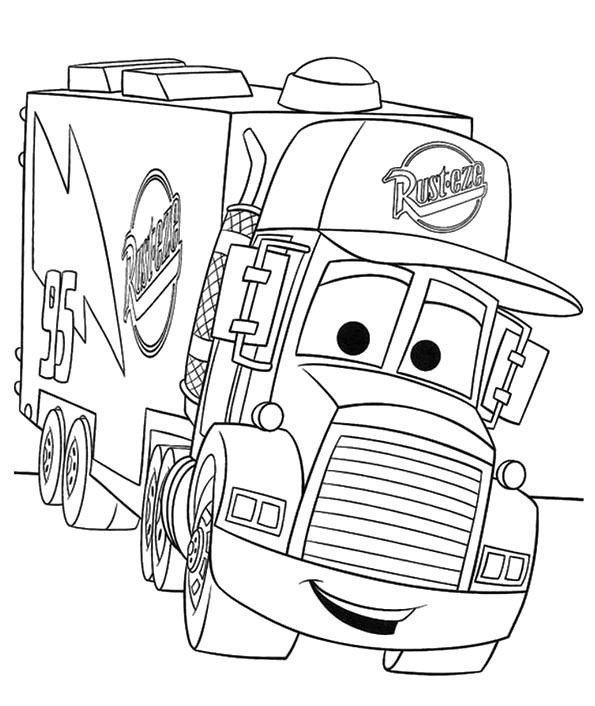 Cartoon Cars Truck Coloring Page Cartoon Car Car Coloring Pages