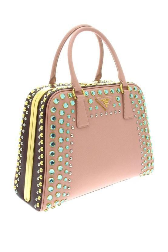 Prada pink and green crystal studded 'Pyramide' handbag
