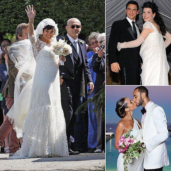 Pregnant Celebrities in Wedding Dresses