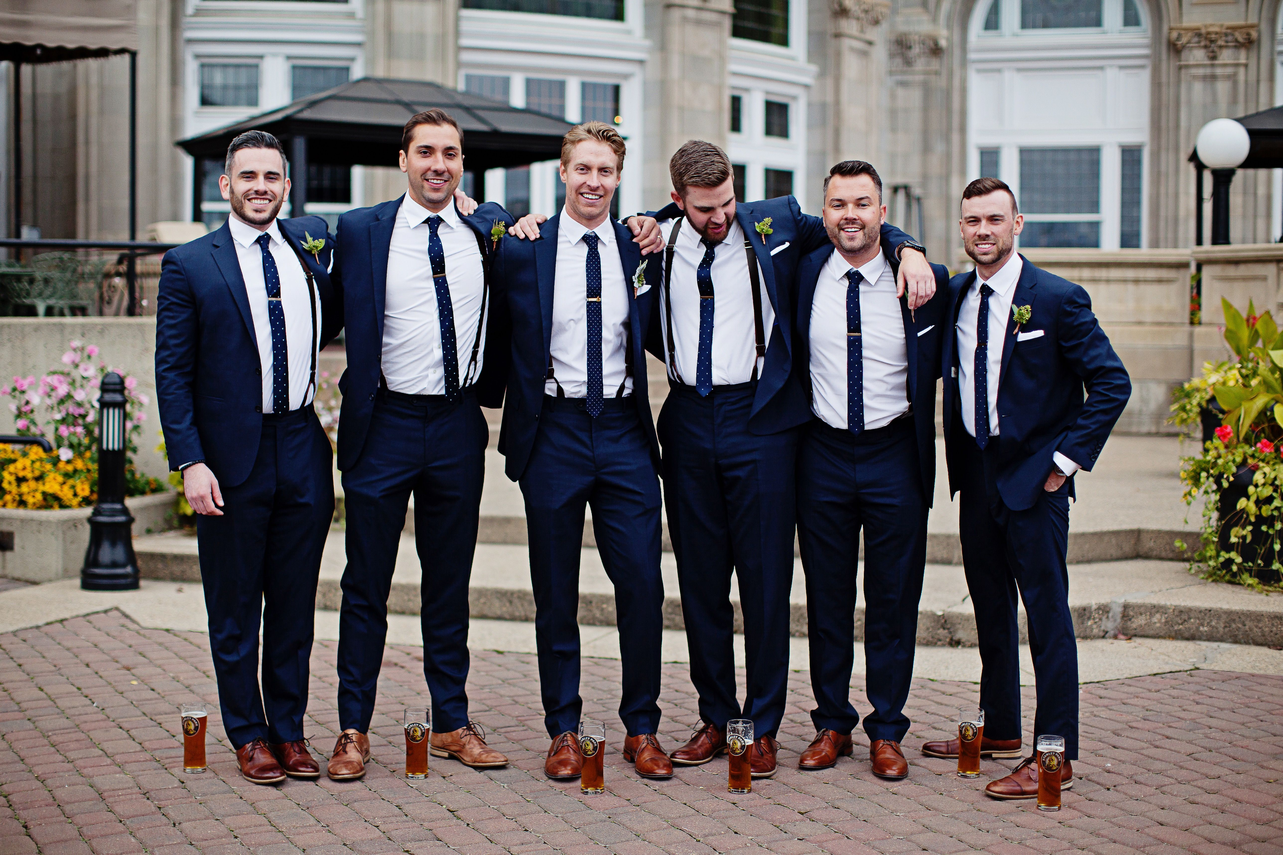 Wedding party wedding photography blush copper white navy suits