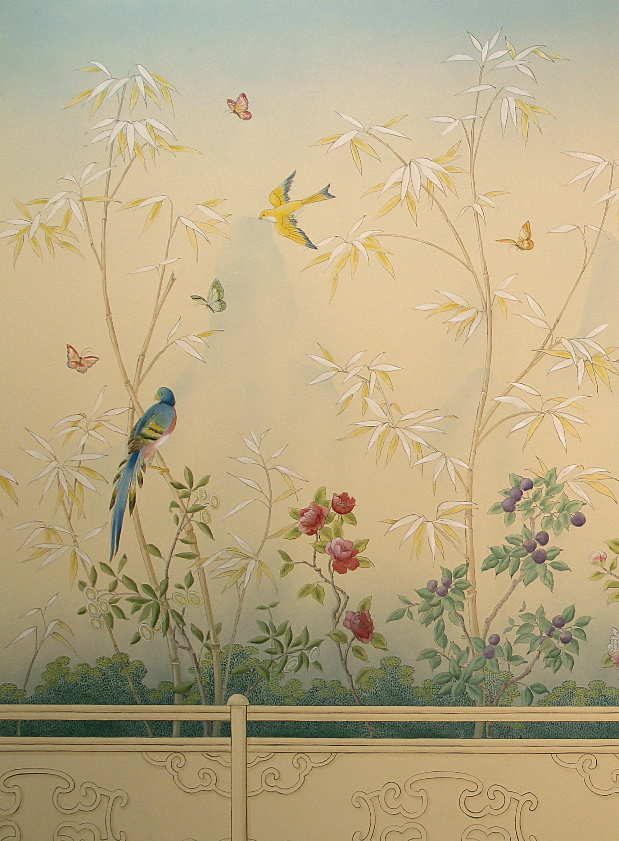 These garden themed murals for a lakefront dining room are in a ...
