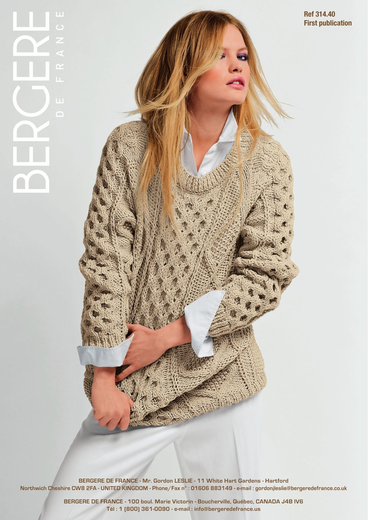 Irish Knit Sweater in Bergere de France PurMerinos - FREE KNITTED ...