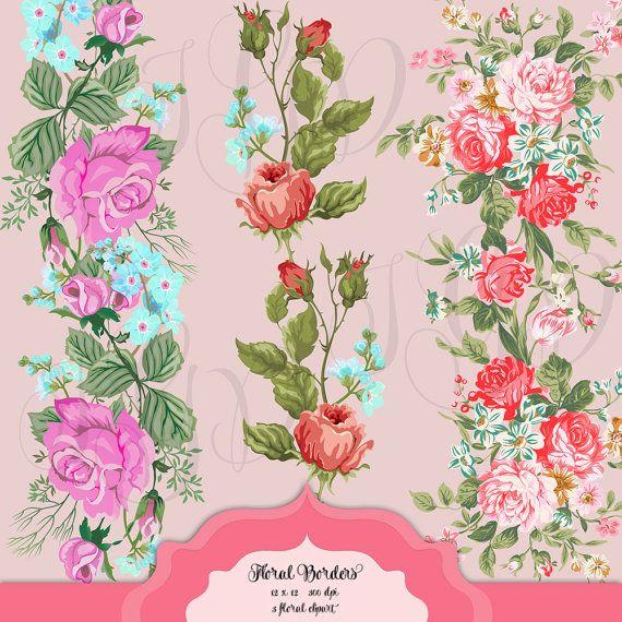 Shabby Chic Floral Borders Digital Clip Art By ItGirlDigital