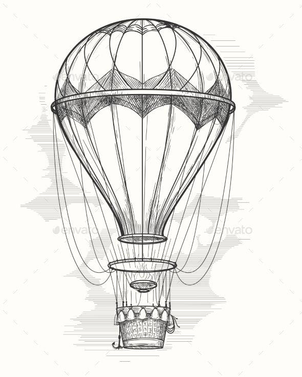 Retro Hand Drawing Hot Air Balloon Vintage Hot Air Airship Vector