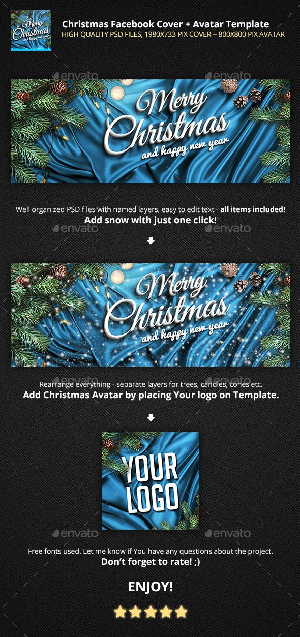 Christmas Facebook Cover Avatar Template Photo Psd Merry Invitation