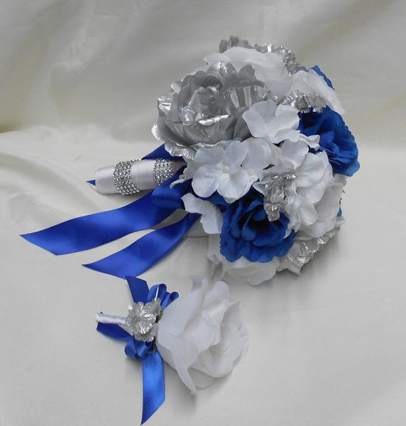 Wedding Bridal Bouquet Your Colors 2 pieces Silver Peonies White ...