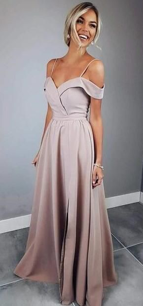 Simply Elegant Straps Pink Long Prom Dress with Slit M2271 ...