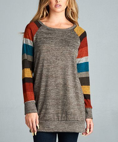 064203184 This Rust Stripe Raglan Tunic - Women is perfect!  zulilyfinds ...