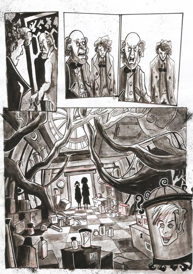 """Página a tinta de """"La biblioteca""""; de Medellia Gray, incluida en Las Catacumbas de Salem"""