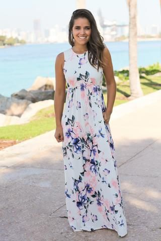 86efb067d7 Off White Floral Racerback Maxi Dress with Pockets