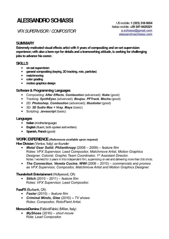 Resume Format Vfx Freshers | Resume format, Template and Pdf