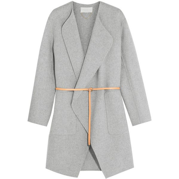 Vanessa Bruno Dugny oversized belted wool and cashmere-blend coat (€595) ❤ liked on Polyvore featuring outerwear, coats, jackets, coats & jackets, grey, grey coat, woolen coat, belted wool coat, gray wrap coat and belted coat