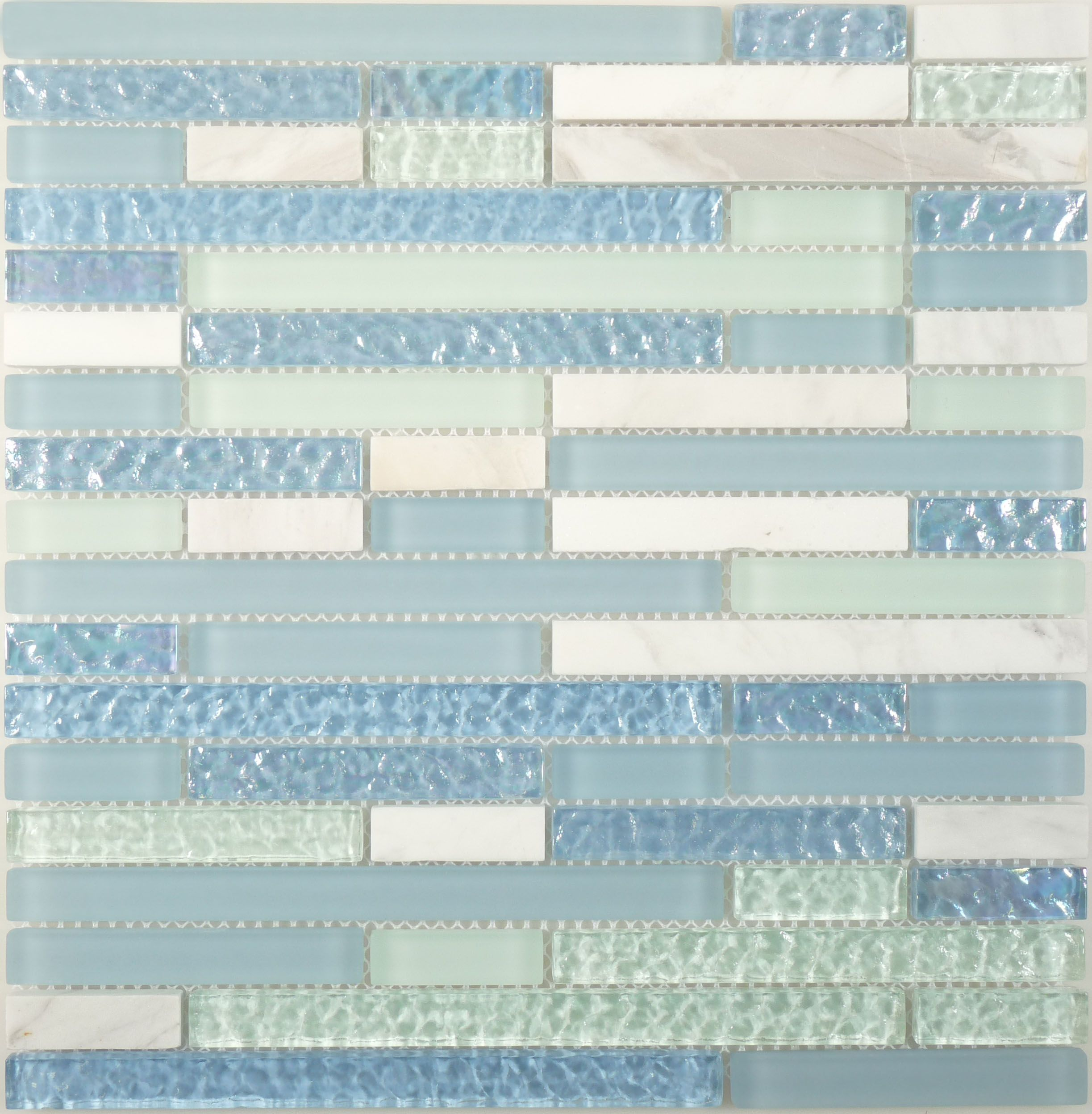 Isi Linea Random Bricks Blue Green Wavy Glossy Frosted Iridescent Blue Glass And Stone Iridescent Glass Tiles Blue Glass Tile Blue Tile Backsplash