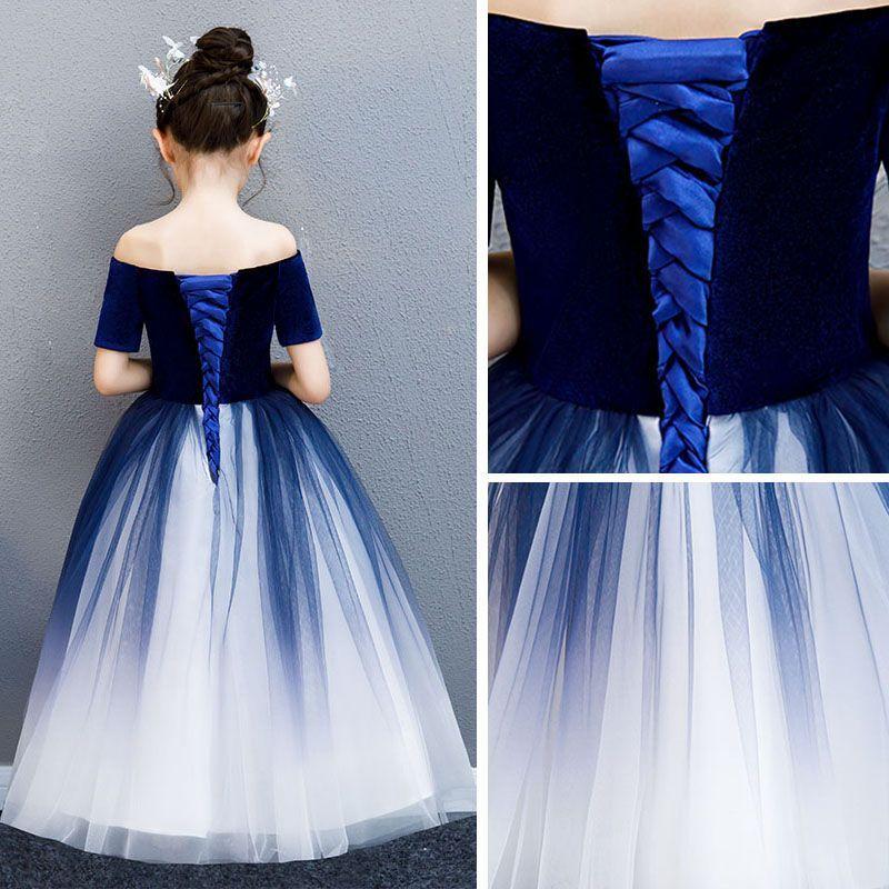 Elegant navy blue gradientcolor suede flower girl dresses