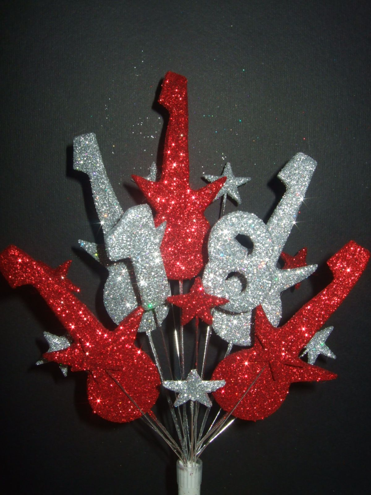 Rock Guitar 18th birthday cake topper in red and silver Handmade