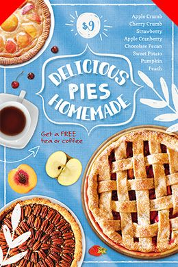 Food Flyer Template  Delicious Pies   Pinteres