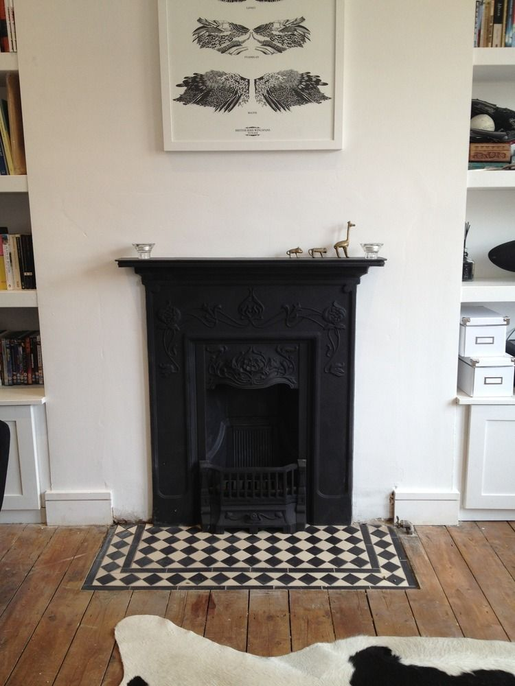 Dining Room Hearth Could Be Re Tiled In Black And White As Cohesive