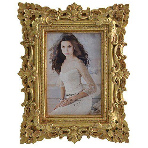 Giftgarden® Vintage Cornice per Foto Incisi Oro per Decor